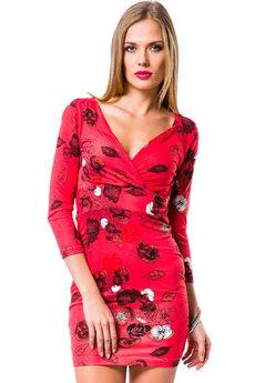 Красное платье с v образным вырезом Mondigo