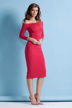 Платье с открытыми плечами и разрезом сзади RUXARA