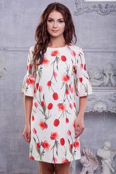 Белое платье с тюльпанами Look Russian