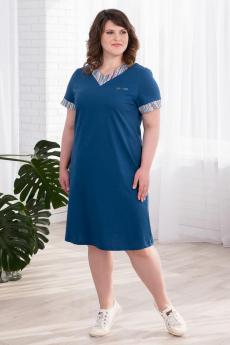 Синее хлопковое платье Шарлиз со скидкой