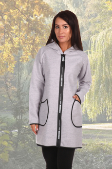 Серое пальто-толстовка Натали