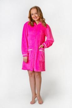 Плюшевый розовый халат Милана